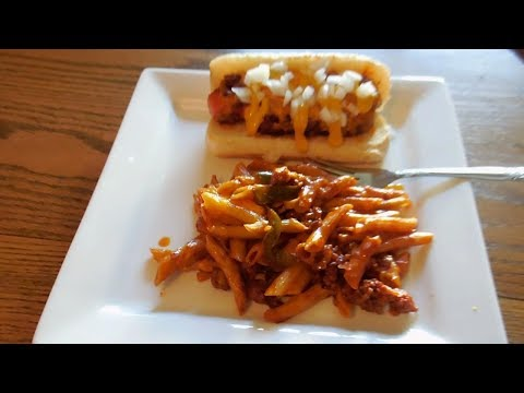 Chili Cheese Dogs Over Penne E238