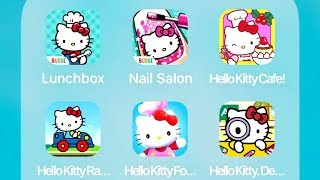Hello Kitty Lunchbox,Nail Salon,Cafe,Racing Adventures,Food Town,Detective Games