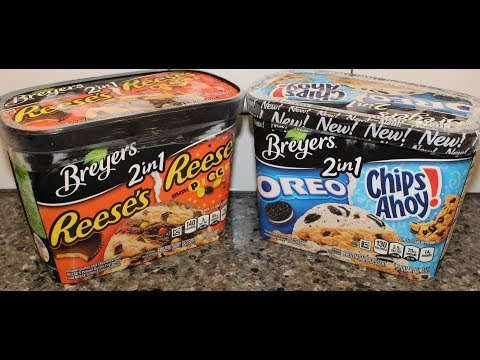 Breyers 2in 1 Reese's and Reese's Pieces and Oreo and Chips Ahoy! Frozen Dairy Dessert Review