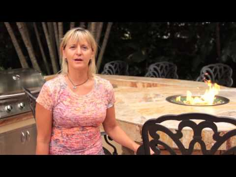 How to build an Outdoor Kitchen Fire Pit Table and Stone Fireplace in Bradenton Beach, FL area