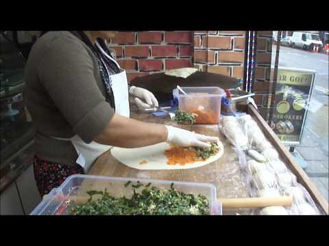GOZLEME - Delicious Turkish Street Food freshly made at Shamata Cafe, Green Lanes, London.