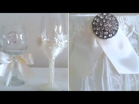 INEXPENSIVE BRIDES WINE GLASSES |  VICTORIAN STYLE CANDLE HOLDER/ WEDDING DIY