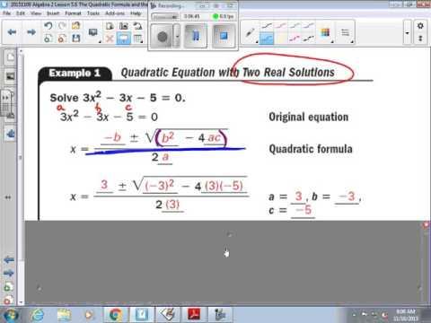 Algebra 2 Lesson 5 6 The Quadratic Formula and the Discriminant part 1