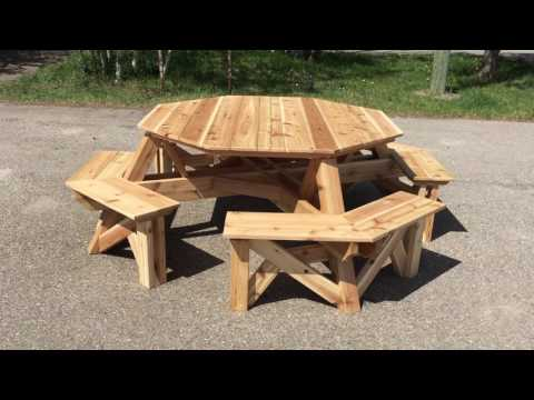 8 Person Octagon Cedar Picnic Table