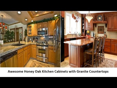 Awesome Honey Oak Kitchen Cabinets with Granite Countertops