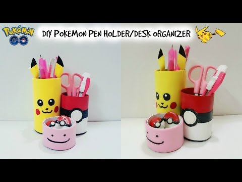 DIY Desk Organizer/DIY Pokemon Go/DIY Pen Holder with cardboard/Recycle craft