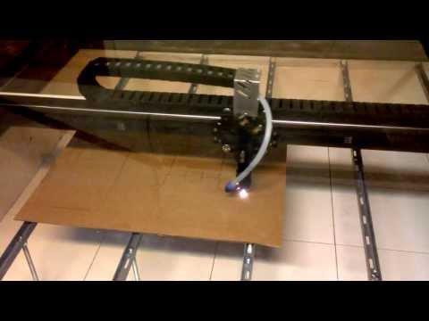 Cutting cardboard box with DIY laser cutter.