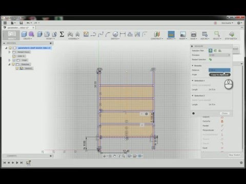 Fusion 360: Using parameters and a rectangular pattern to sketch a shelving unit