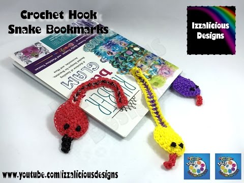 Snake Bookmark - Loomigurumi Crochet Style using Rainbow Loom Bands ( hook only )