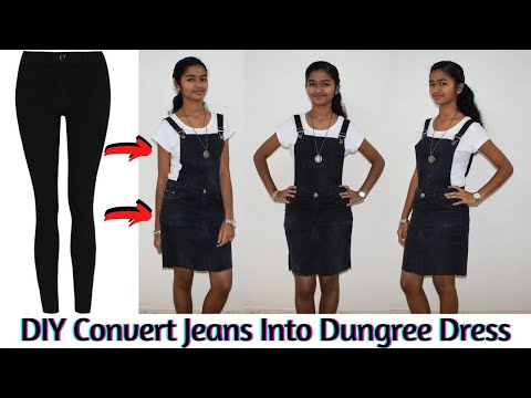 DIY: Convert/Reuse/Recycle Jeans Into a Detachable Dungree Dress and/or Denim Skirt