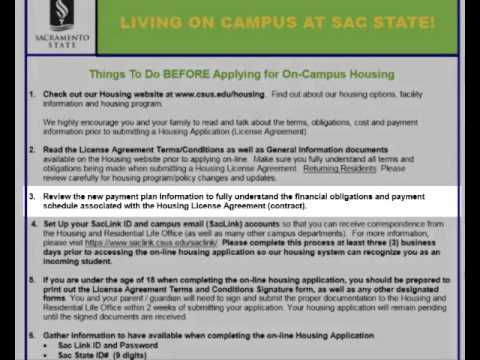 Before You Apply for On-Campus Housing: Sacramento State