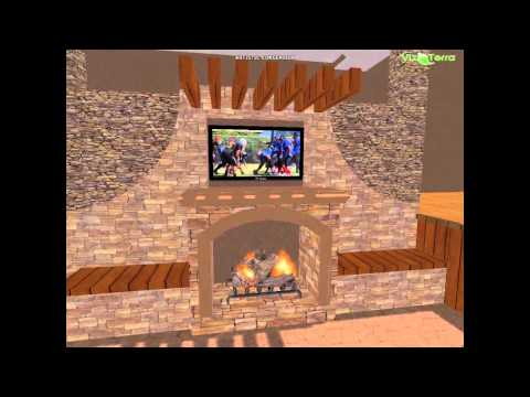 outdoor living space with fireplace and TV