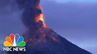 Volcano's Spectacular Fiery Display Threatens 56K In The Philippines | NBC News