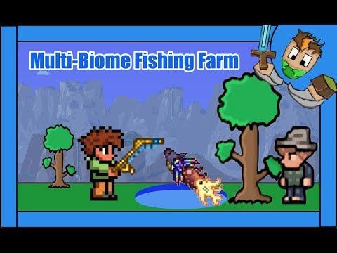 Terraria 1.3.5 Catch Any Fish |Multi-Biome Fishing Farm|