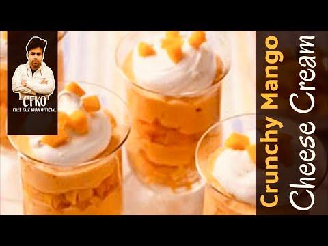 CRUNCHY MANGO CHEESE CREAM   Easy Mango Dessert   Quick Mango Cheese Cake Recipe  SunStudios  CFKO