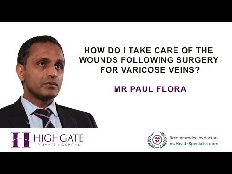 How do I take care of the wounds following surgery for varicose veins?