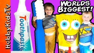 Giant Toothpaste Surprise with Power Rangers and SpongeBob by HobbyKidsTV