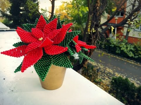 How to make a Christmas beaded flowers - Pointsettia Flower Beading Tutorial