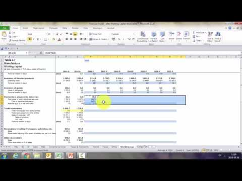 Financial modeling in Excel - Working capital