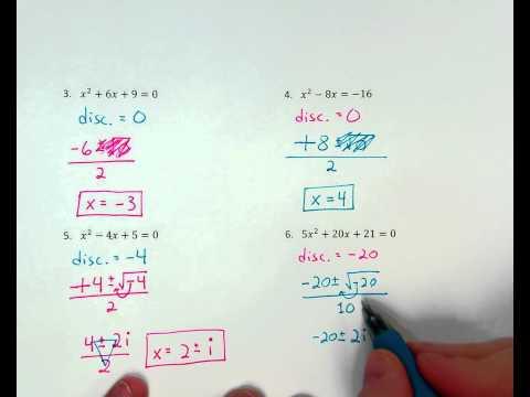 Quadratic Formula ex. 6 (zero real / 2 imaginary solutions)