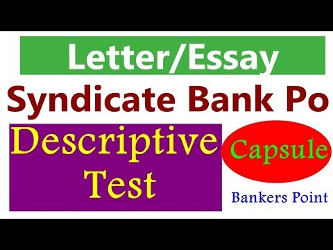 Descriptive writing (Letter Essay) Capsule For Syndicate Bank Po
