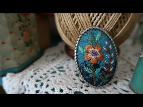 자수 브로치 만들기 #04│Hand Embroidery │Fabric Flower Pin Brooch│DIY Craft Tutorial