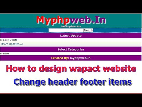 how to design wapact website add logo create footer how to make php wapact website part 2