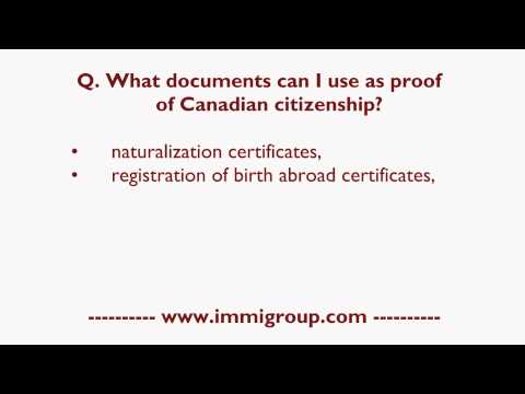 What documents can I use as proof of Canadian citizenship?