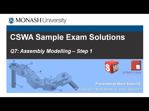 SolidWorks CSWA Practice Exam Solutions Part 7: Q7 Assembly Modelling Step 1