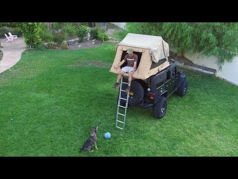 Jeep Wrangler with ARB Roof Top Tent and AEV Rack Mount Combo Plus How To Open
