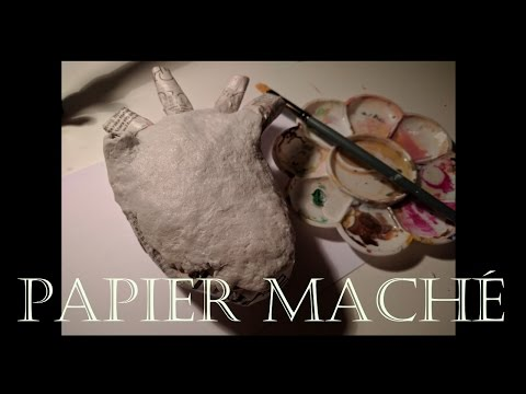 Papier Maché/Paper Mache Realistic Heart - Coating it in papier maché air dry clay!
