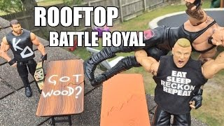 GTS WRESTLING: ROOF TOP RUMBLE! WWE Mattel Elite Figure Matches ANIMATION PPV Event!