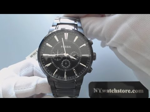 Men's Black Fossil Chronograph Steel Watch FS4778