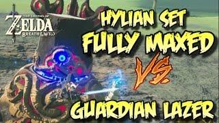FULLY MAXED HYLIAN ARMOR Vs GUARDIAN BLASTS Zelda BotW