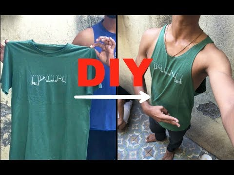 DIY | how to make gym vest using t shirt in few minutes