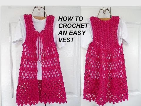 Crochet Vest - LONG Lacy Openwork PINK VEST, easy vest, clothing, free video tutorial