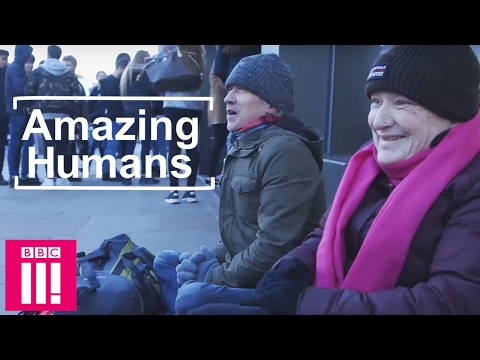 The woman using the kindness of others to help keep the homeless warm