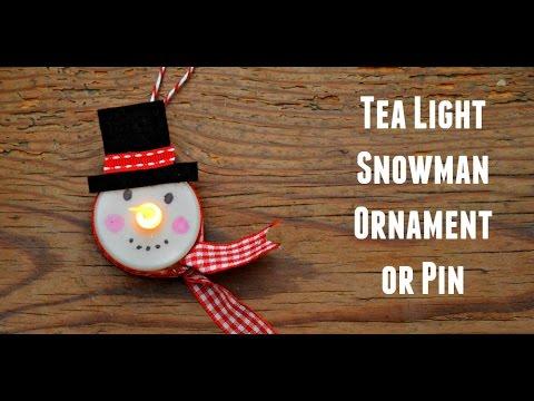 Tea Light Snowman Ornament - It Lights Up!