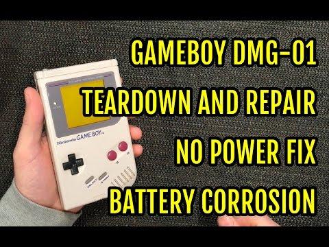 Game Boy DMG Repair Teardown - No power fix - Battery contacts corrosion