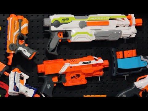 Nerf Gun Wall DIY! Pegboard Nerf Gun Storage!