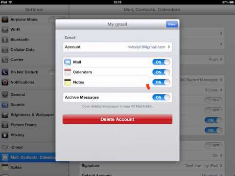 How to Disable gmail notes sync on iPad iOS 6.  WWW.I-L.CO