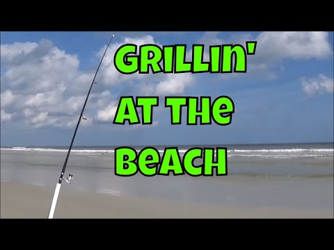 Lodge Sportsmans Grill Cooking Fresh Fish at the Beach
