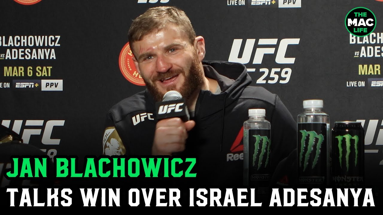 Jan Blachowicz reacts to win over Israel Adesanya at UFC 259