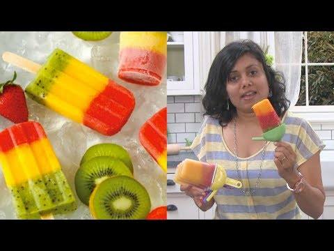 Homemade Fruity Popsicles Recipe - Mango Strawberry Kiwi Popsicles by Bhavna