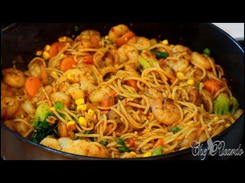 Stir Fried King Prawns With Vegetables And Spaghetti | Recipes By Chef Ricardo
