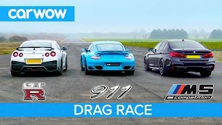 Nissan GT-R vs Porsche 911 Turbo vs BMW M5 Comp - £100K DRAG RACE, ROLLING RACE & BRAKE TEST