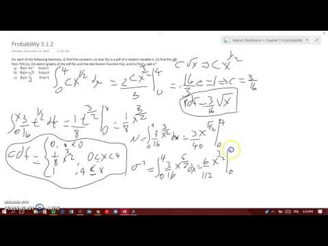 HOW TO DO A PDF, CDF & GRAPH THEM. FINDING MEAN & VARIANCE