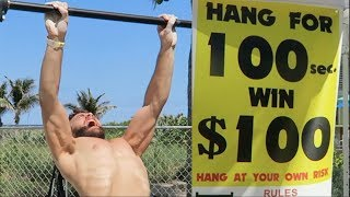 HANG CHALLENGE! 100 SECONDS, 100 DOLLARS! (NINJA WARRIOR ATTEMPT)