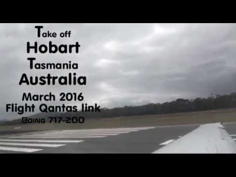 Take off Hobart Tasmania Australia Flight Qantas Link