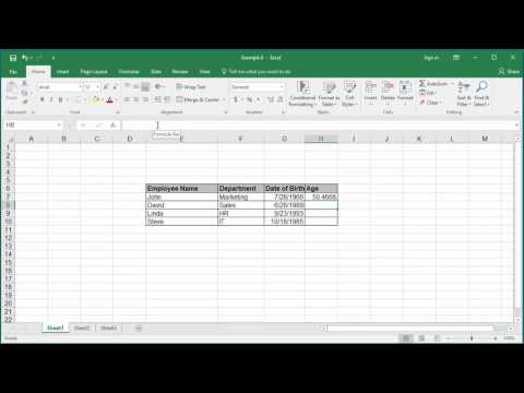 How to Calculate person's age in Excel 2016